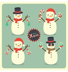 Christmas snowman set vector