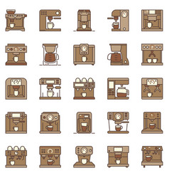 Coffee machine creative icons set coffeemakers vector