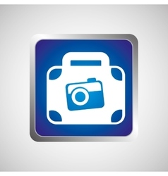 Concept travel suitcase and camera icon button vector