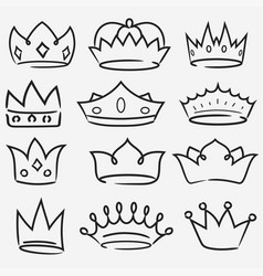 Crown hand drawn icon collection royal diadem vector