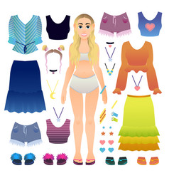 cute tourist girl paper doll with set of vector image