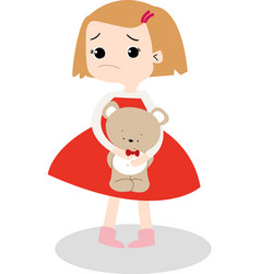 cute unhappy girl and her teddy vector image