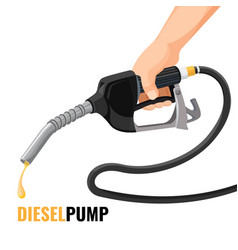 Diesel pump promotional poster with fuel nozzle in vector