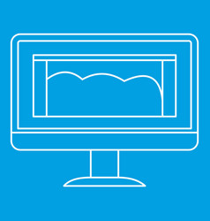 drawing monitor icon outline style vector image