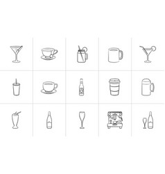 drink hand drawn sketch icon set vector image