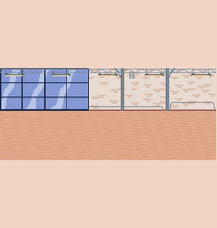 empty room space beige brick wall and wooden vector image