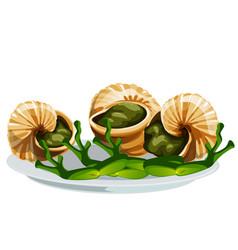 Escargot a delicious french dish snails vector