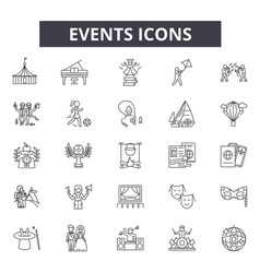 Events line icons for web and mobile design vector