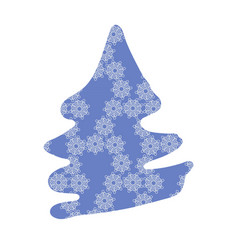 Fir tree silouette with purple snowflake pattern vector