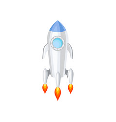 flat icon of space rocket with engine fire vector image