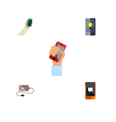 Flat icon touchscreen set of cellphone keep phone vector