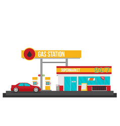 Gas station flat vector