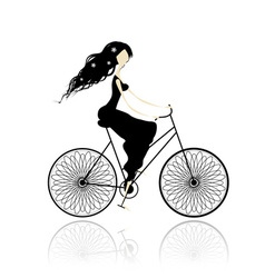 Girl in black dress cycling vector image