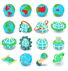 globalization icons set cartoon style vector image