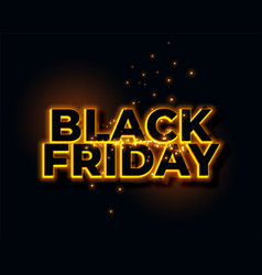 glowing yellow neon lights black friday background vector image