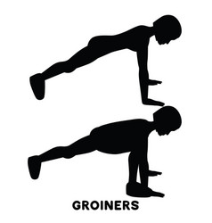 Groiners plank planking sport exersice vector