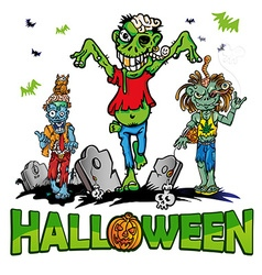 Halloween background with zombie vector
