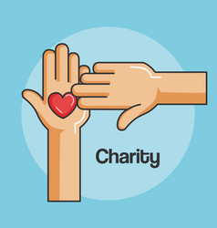 Hands and heart icon of kindness and charity vector