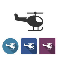helicopter icon in different variants with long vector image
