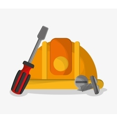 Helmet and screwdriver of under construction vector