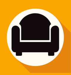 icon chair on white circle with a long shadow vector image