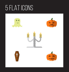 Icon flat halloween set of gourd coffin specter vector