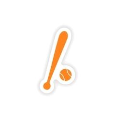 Icon sticker realistic design on paper baseball vector
