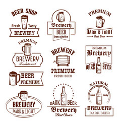 Icons set for beer brewery pub bar or shop vector