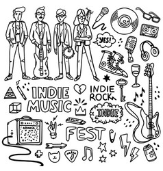 Indie rock music set black and white vector
