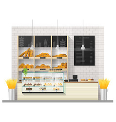 Interior scene of bakery shop with display counter vector