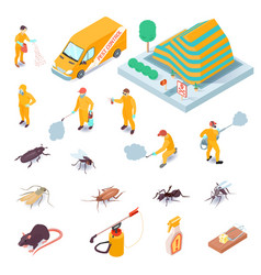 isometric pest control set vector image