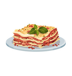 Italian lasagna dish served on plate with sauce vector