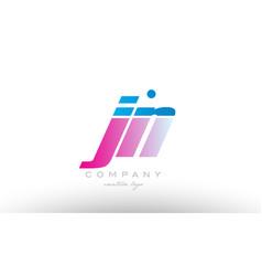 jn j n alphabet letter combination pink blue bold vector image
