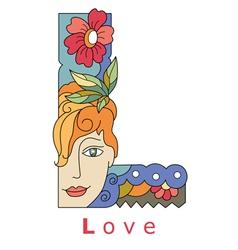 Letter L love vector image