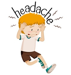 Little boy having headache vector