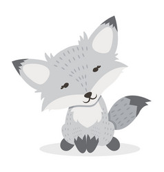 little white fox cartoon vector image
