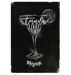 Margarita cocktail chalk vector