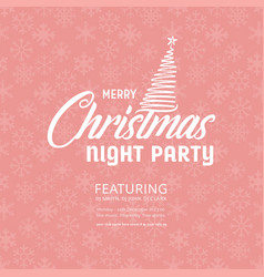 merry christmas night party snowflake pink vector image