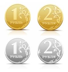 Metallic Russian coin ruble vector