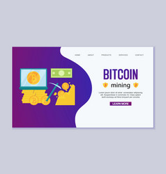 mining bitcoins modern concept digital bitcoin vector image