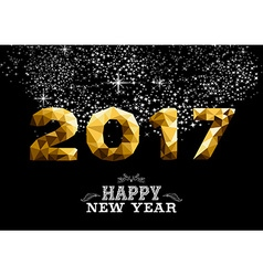 New Year 2017 gold low poly greeting card design vector image