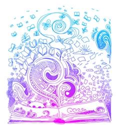 Open book sketchy doodles vector image