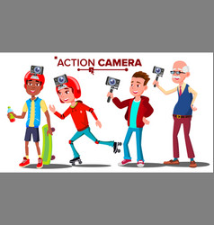 people with action camera set self video vector image