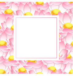 Pink indian lotus banner card vector