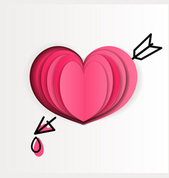 pink paper heart on white background with drawn vector image