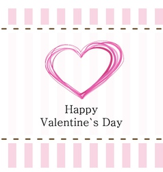 Pink Valentines Day postcard vector