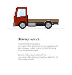 Poster with red mini truck without load vector