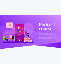 recorded classes landing page template vector image