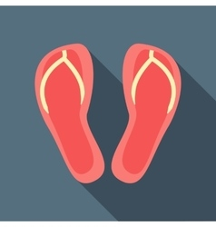 Red slippers icon flat style vector