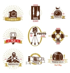 Retro Photographer Label Set vector image